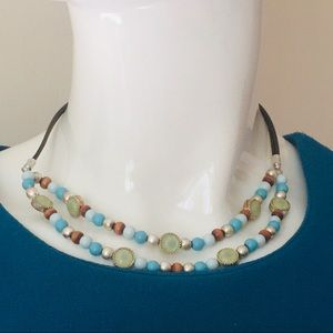 Beaded necklace two strands